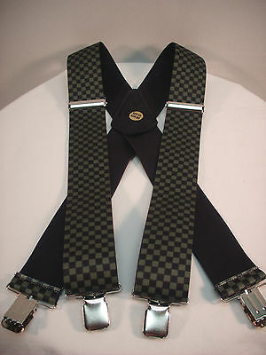 "New, Men's, Olive Drab/Black Checkerboard XL, Adj., 2"", Suspenders / Braces, USA"