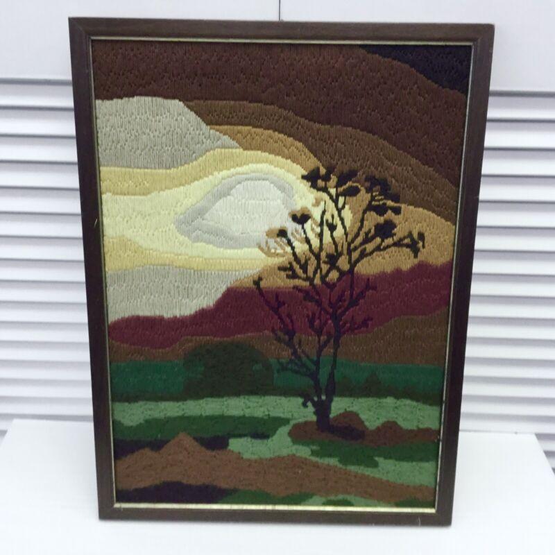 Vintage 70s Textile Fiber Landscape Art Tree & Colorful Sunset 14x19 Neutrals