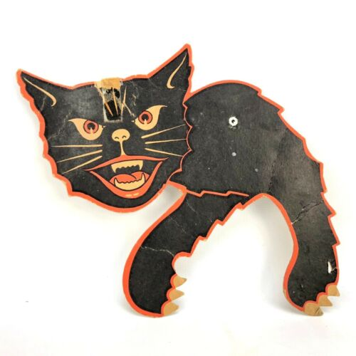 Vtg Die Cut Hissing Black Orange Cat Wall Decoration Paper Cardboard Crafts 9""