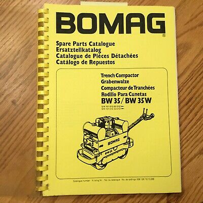 Bomag Bw35 Bw35w Roller Parts Catalog Book Manual Trench Compactor Guide List