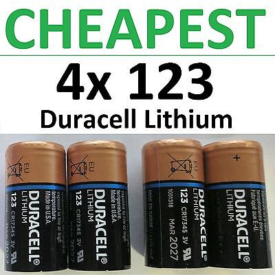 4 X New 123 Duracell 3V Lithium Batteries  Cr123a  Dl123  Photo  Exp 2026