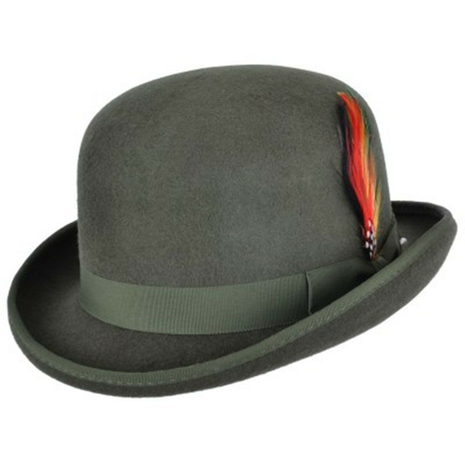Royal Blue 100/% Wool Bowler Hat with Removable Feather Satin Lined in 4sizes