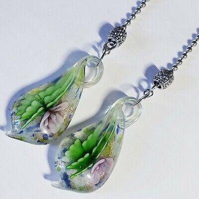 Large Clear Glass Lavender Flower Garden Teardrop Ceiling Fan Pull Chain Pair ()