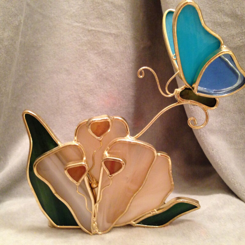 Stained Glass Candle Holder Flower Butterfly Tea Light Votive Gift Home Decor