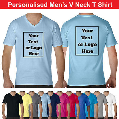 Printed V-neck Tee (Custom Printed Personalised V Neck T-Shirt Vneck Tee Shirt Stag Workwear Photos)