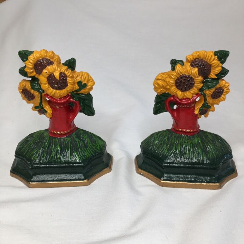 Sunflower Bookends Cast Iron 5 3/4 inches