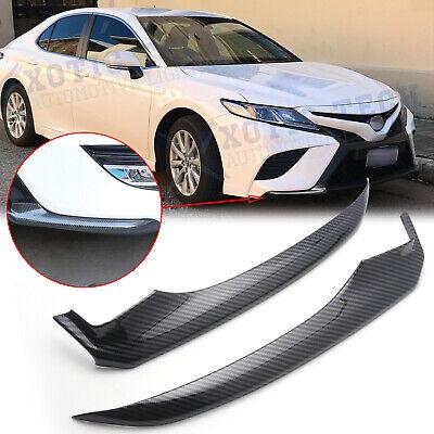 Carbon Fiber Style Front Bumper Lip Corner Cover Trim For Toyota Camry 2018 2019