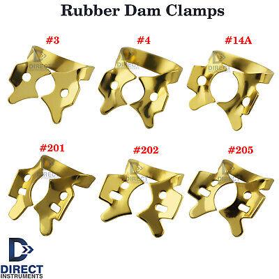Dental Rubber Dam Clamps Tooth Retainers Gold Color Maxillary Molar Mandibular