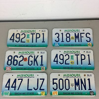 """6 Missouri """" Show-Me State """" License Plates collecting, decorating, or craft"""