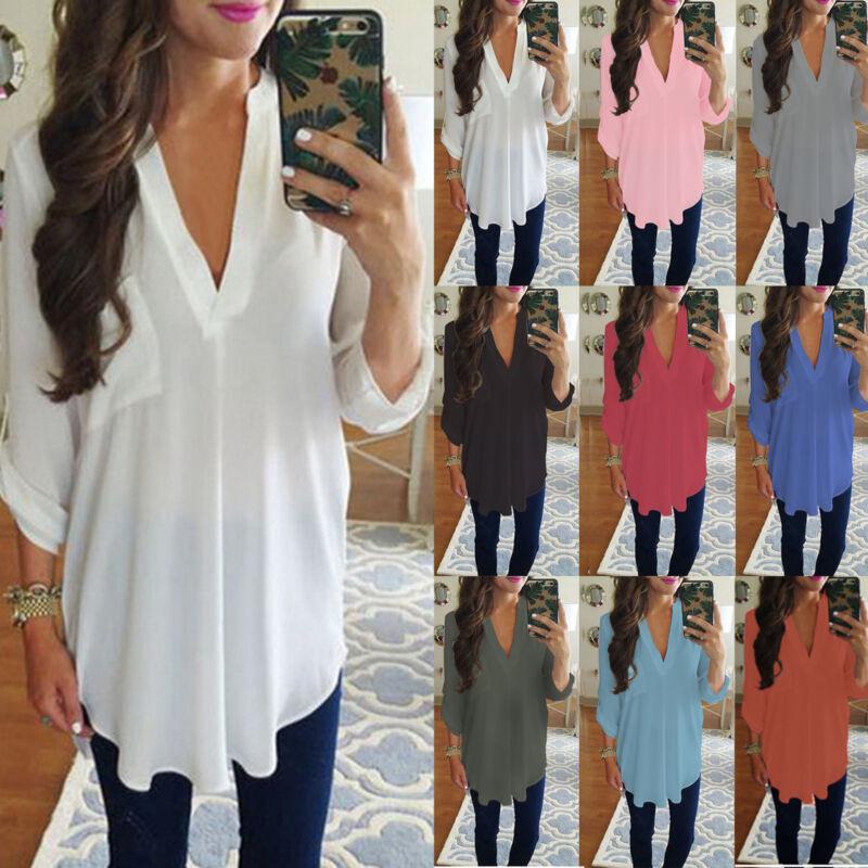 Damen V-Ausschnitt Chiffon Bluse Pullover Tunika Longshirt Rüschen Hemdshirt Top