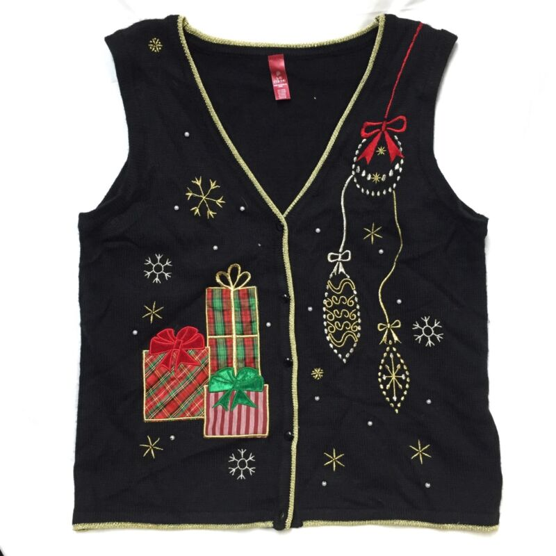 Christmas Sweater Vest Women's Large 12-14 Black Ornaments Gifts Presents Beads
