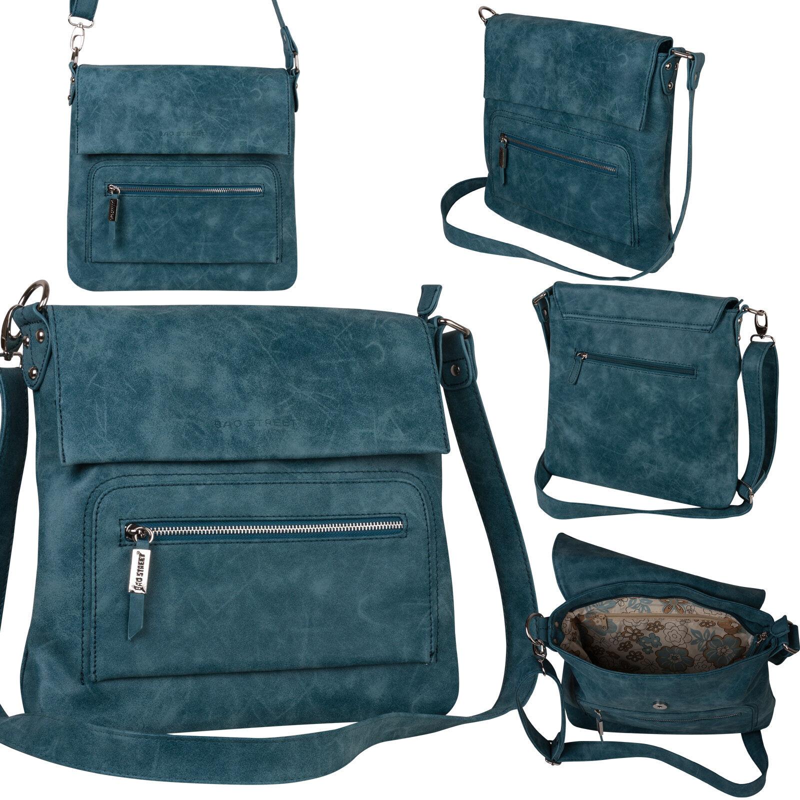 Bag Street Damentasche Umhängetasche Handtasche Schultertasche K2 T0103 Blau