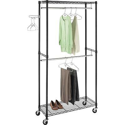 Rolling Clothes Rack Organizer Double Rod Garment Clothes Laundry Bedroom Closet