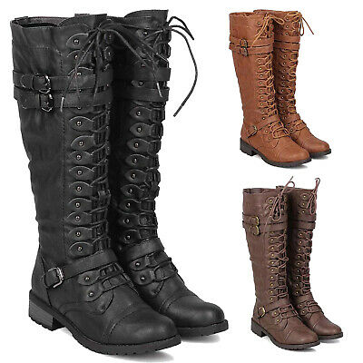 Womens Faux Leather Knee High Lace Up Buckle Riding Boots Military Combat -
