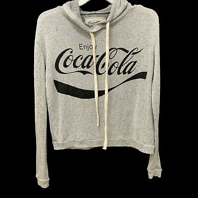Coca Cola Hoodie Sweatshirt Sz Small Womens, Soft Rayon Blend, Drawstring, Gray