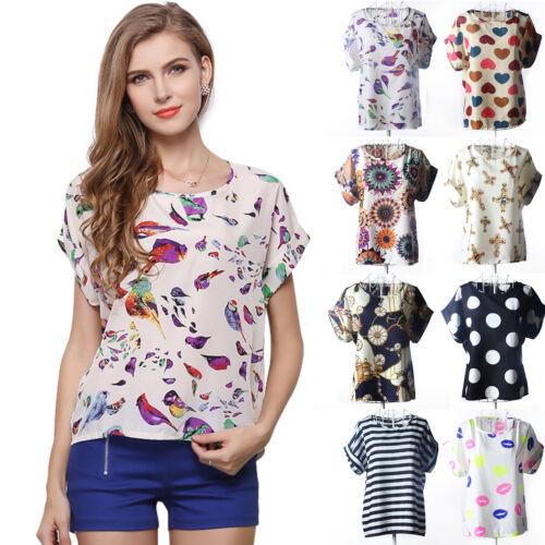 Donna Floreale Chiffon Larga T-shirt Camicia Casual Manica Corta Maglietta