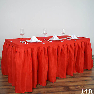 14 Red Polyester Pleated Table Skirt Tradeshow Wedding Catering Supplies Dinner