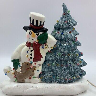 Vintage 1987 Decoration Decor Christmas Tree Snowman Puppy Light Up READ FLAW