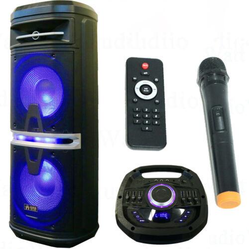 "2000W Dual 10"" Rechargeable Powered Speaker DJ PA Karaoke System Bluetooth w/LED"