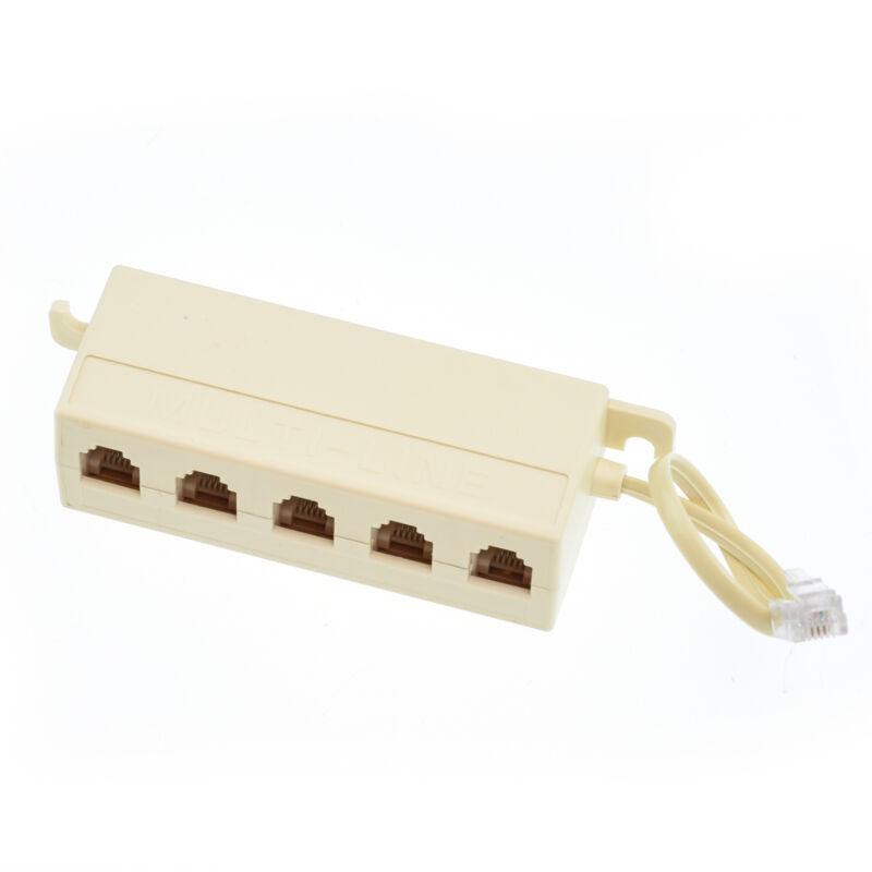 6P4C RJ11 5 Way Telephone Phone Line Modular Jack Splitter Coupler Adapter Plug
