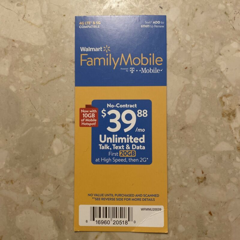 Walmart Family Mobile $39.88 Unlimited Monthly Prepaid Plan + 20GB