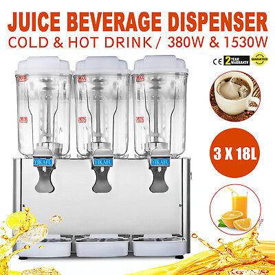 Hot And Cold Drink Juice Beverage Dispenser Fruit Juicer Three Tanks 54l