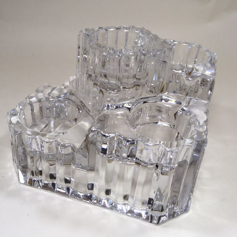 PartyLite Clear Crystal Castle 5 Tier Votive Candle Holder Ice Glass Look Heavy