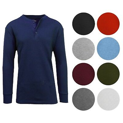 Men's Long Sleeve 3 Button Henley Waffle Knit Thermal - Undershirt- Tee- (Thermal Undershirt)