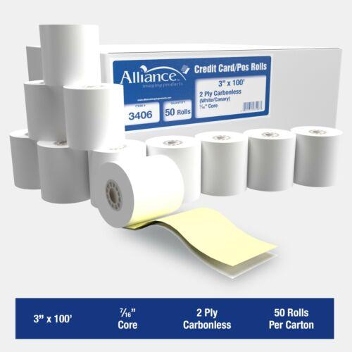 "Alliance 2 Ply Carbonless Receipt Rolls 3"" x 100"