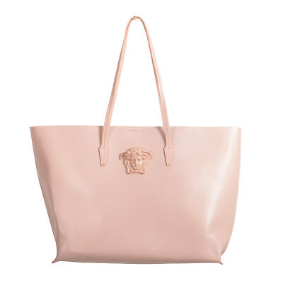 Versace Women's Blush Pink Saffiano Leather Medusa Tote Handbag Shoulder Bag