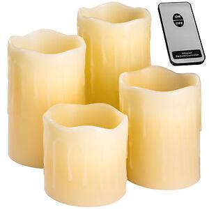 4 LED Kerzen mit Fernbedienung flammenlose Echtwachskerzen Wachskerze
