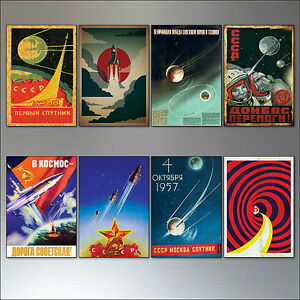 Vintage-Retro-Sputnik-Atomico-Sovietica-Espacio-Carreras-Poster-Imanes-de-Nevera