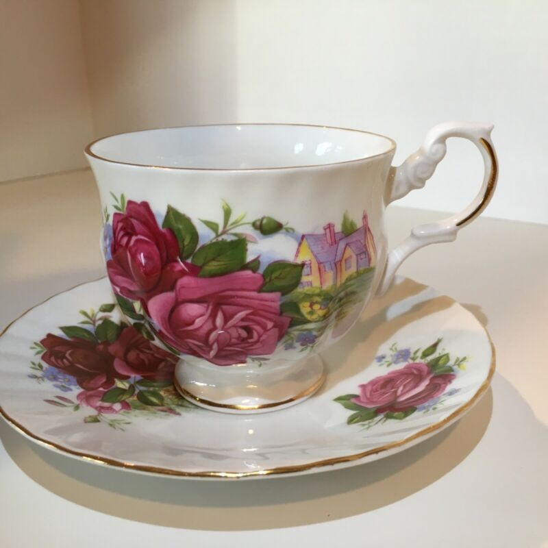Royal Dover Fine Bone China, Made in England. Pink floral and cottage scene.