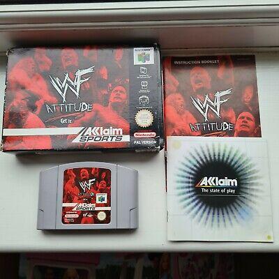 WWF Attitude Get It N64 Nintendo 64 Boxed PAL Game Cartridge Box Manual Complete