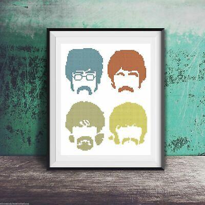 Beatles Pop Art John Paul Ringo George Counted Cross Stitch