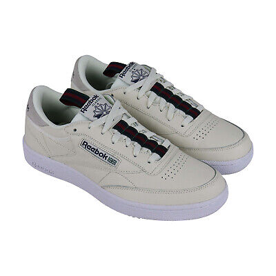 Reebok Club C 85 Mu Mens Beige Leather Lace Up Sneakers Shoes