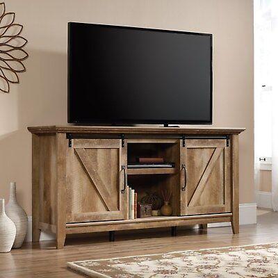 - 420820 Sauder Dakota Pass Entertainment/Storage Credenza in Craftsman Oak Finish