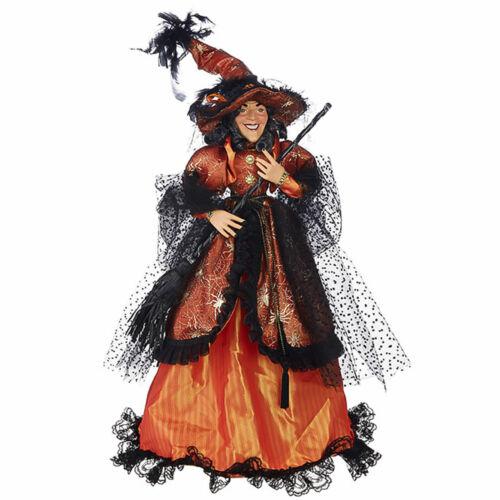 "27"" RAZ Gothic Orange Black Witch Halloween Figure Doll Broom Hat Dress Decor"