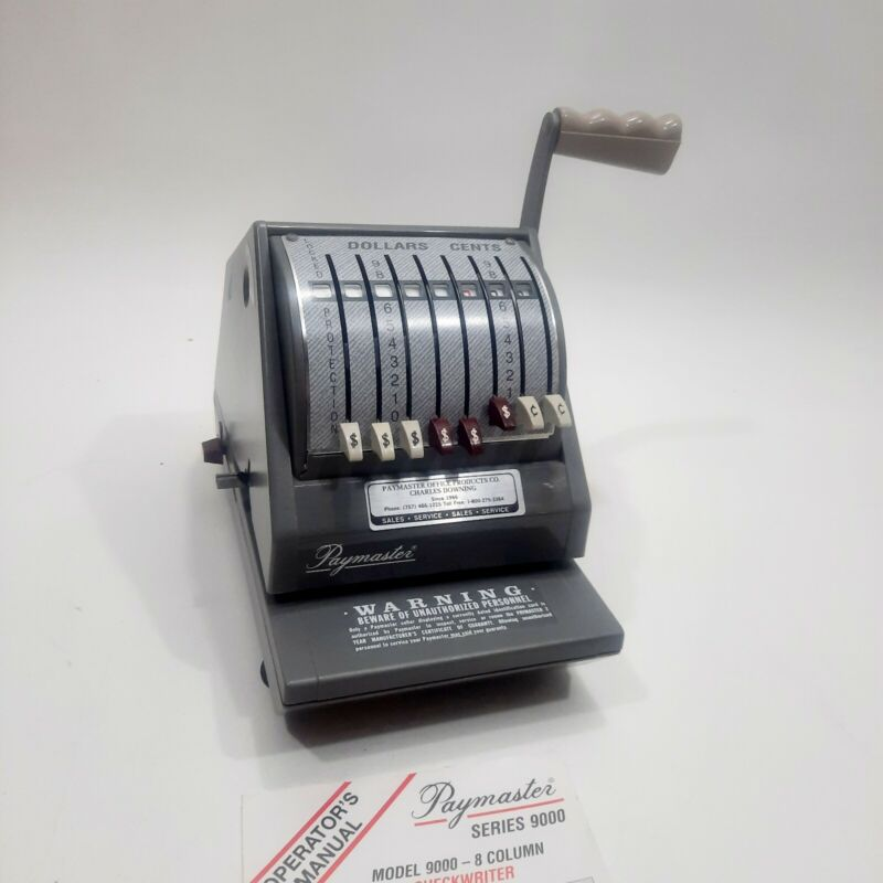 PT Paymaster 9000-8 Series Check Writer with Key Good Condition 9000 made in usa