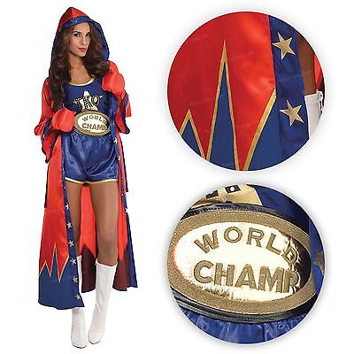 Boxing Babe Ladies Knockout Champion Sport Shorts Gloves Robe Fancy Dress Outfit (Boxing Shorts Kostüm)