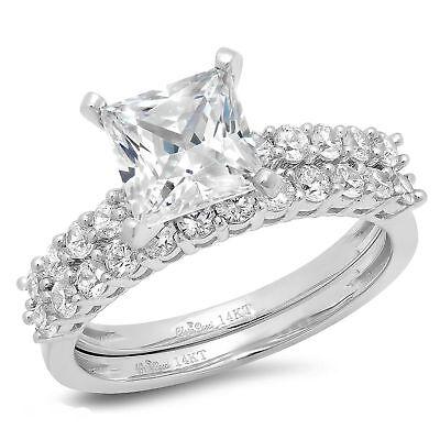2.76ct Princess Cut Bridal Engagement Wedding Ring Band S...