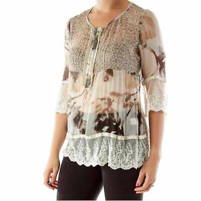 Sundance silk lace boho peasant floral tunic