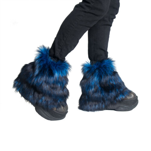 PAWSTAR Ankle Furry  Leg Warmers - Fluffies Fur Blue Black Boot Cover [WFBL]2594