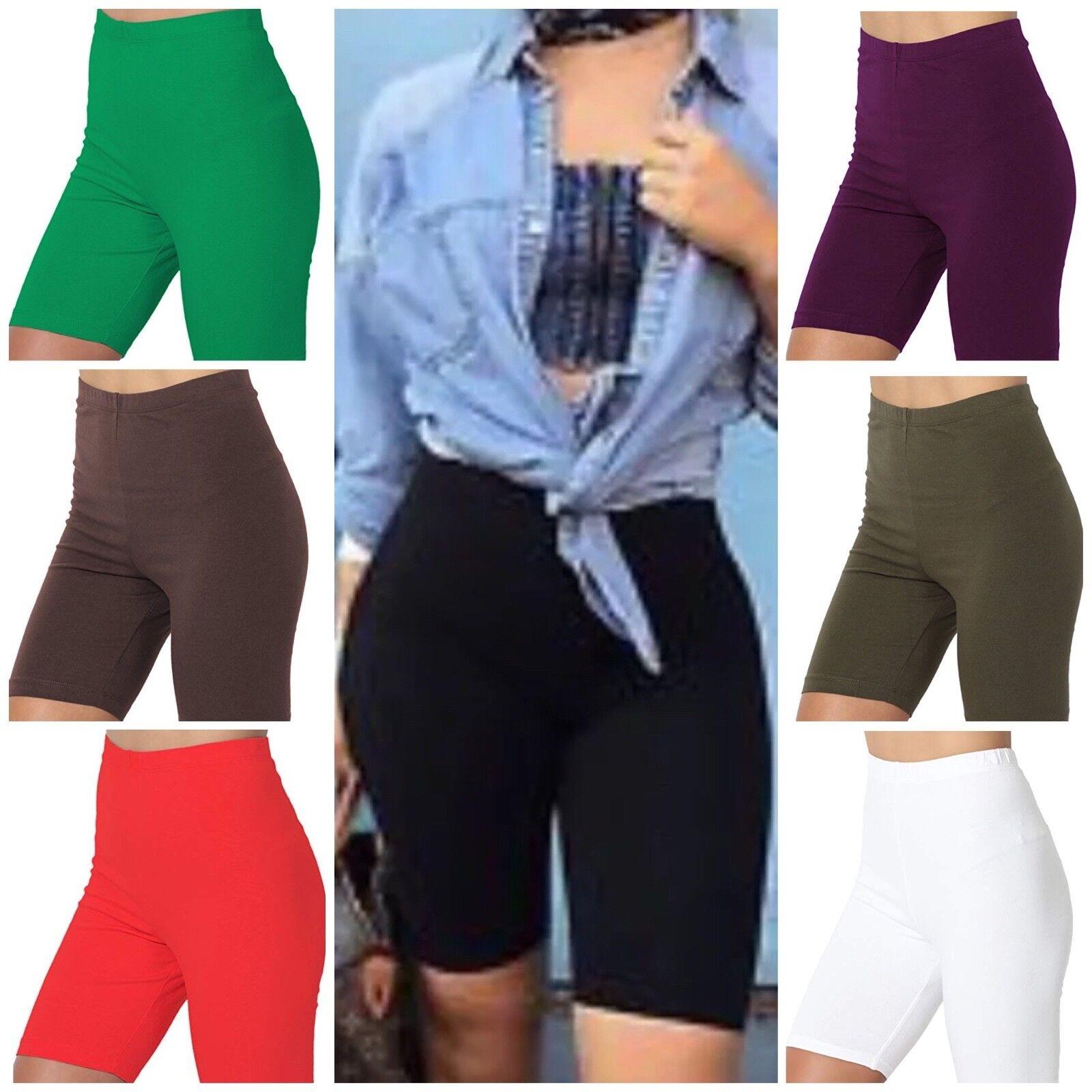 Cotton Spandex Biker Shorts LOT 1-6- 35 Bermuda Women's Plus