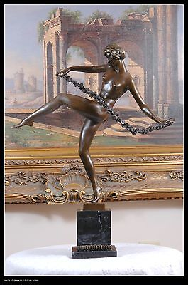 Signed Pierre le Faguays bronze statue girl w/flower deco dancer sculpture