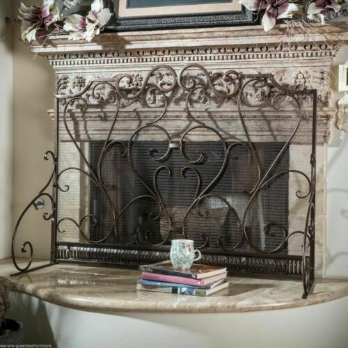 Adalia Black Brushed Gold Finish Wrought Iron Fireplace Screen Fireplace Screens & Doors
