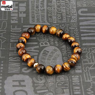 Men's Hip Hop Healing Tiger Eye Stone Gems Bead Elastic Stretch Bracelet KDB033