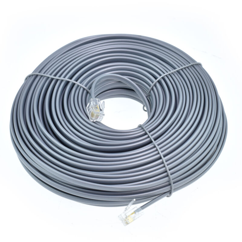 100FT feet RJ11 6P4C Modular Telephone Extension Cable Phone Cord Line Wire Grey