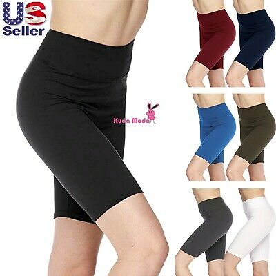 Women's 3 inch Wide Waistband Biker Leggings Bike Shorts Yoga Fitness Sports