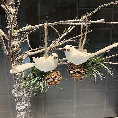 2x White Bird Sitting Pine Cone Hanging Decoration Vintage Christmas Tree Dove
